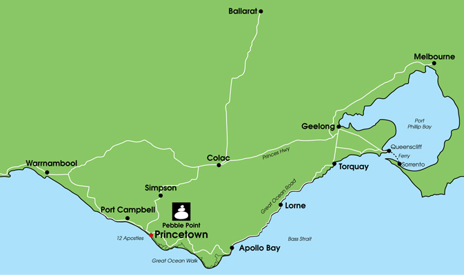 Pebble Point Accommodation Location close to Great Ocean Road and